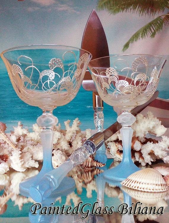 Something blue Crystal Wedding Glasses Champagne Flutes Set of 2 Beach Sea waves wedding theme Cake serving set server and knife