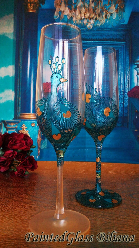 CRYSTAL SET of 2 hand decorated Wedding Glasses champagne flutes Peacock in gold and turquoise color
