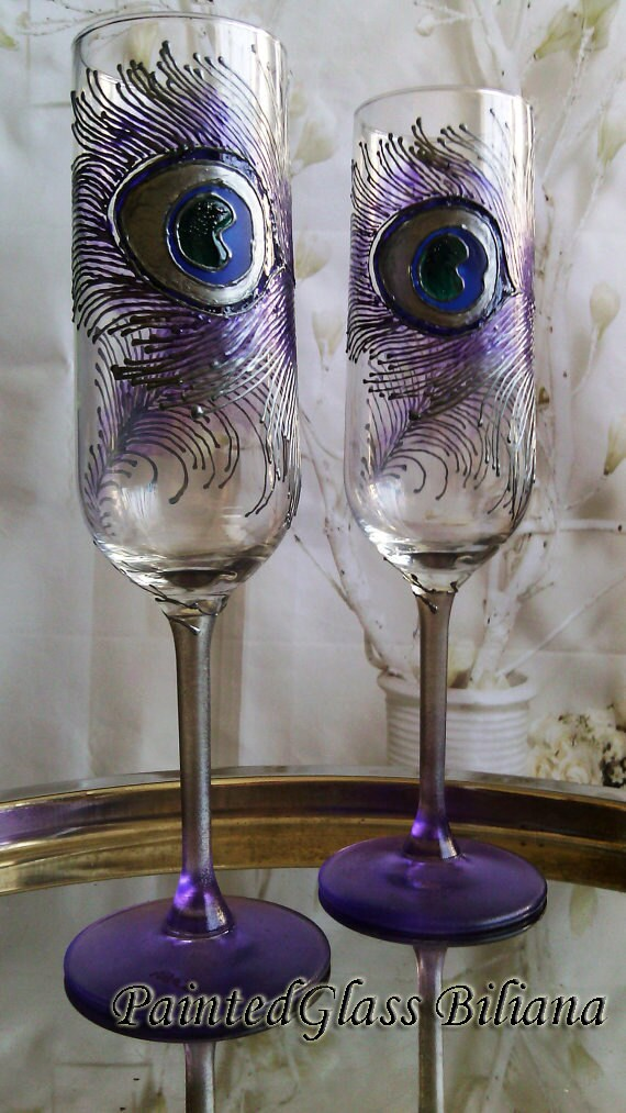 Set of 2 hand painted champagne flutes Peacock feathers in silver and purple