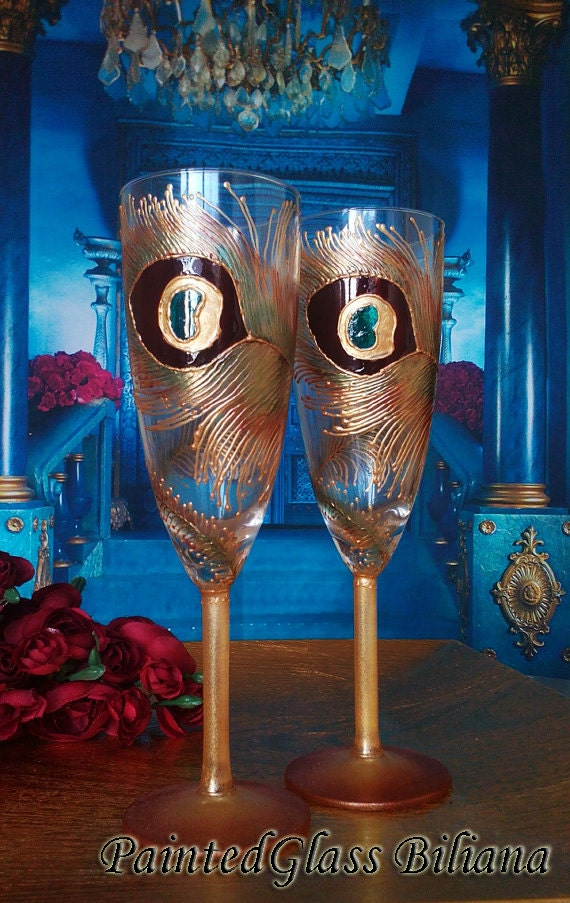 Wedding Glasses Peacock feather Champagne Flutes Hand Painted Set of 2 Peacock theme wedding in Brown and Gold color