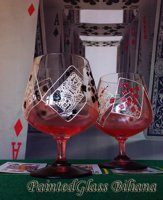 CRYSTAL Set of 2 Hand Painted brandy cognac whiskey glasses Las Vegas poker cards game Casino Royal Flush in red and black color