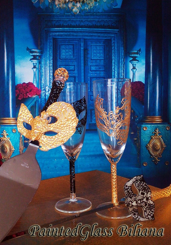 Wedding Glasses Champagne Flutes Set of 2 Lace domino Masquerade mask in Black and Gold color Masquerade Mask Cake serving set