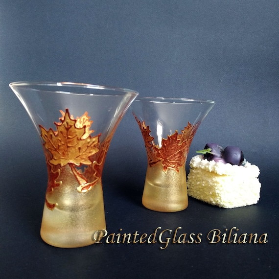 Autumn set of 2 stemless hand painted wedding champagne flutes Maple leaves