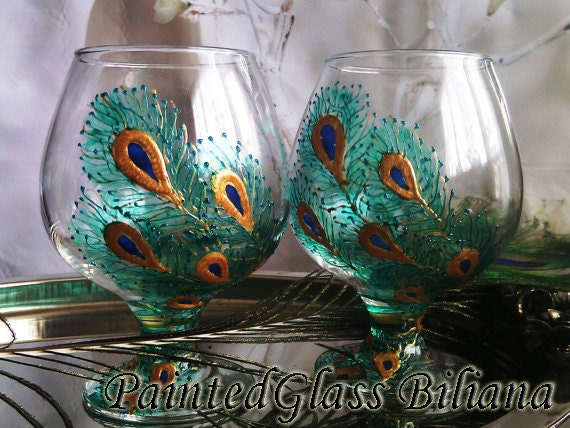 Set of 2 Hand Painted brandy/ cognac glasses Peacock feathers