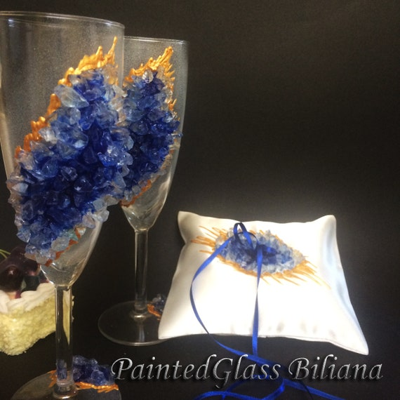 20% off Blue geode wedding flutes & Ring pillow set