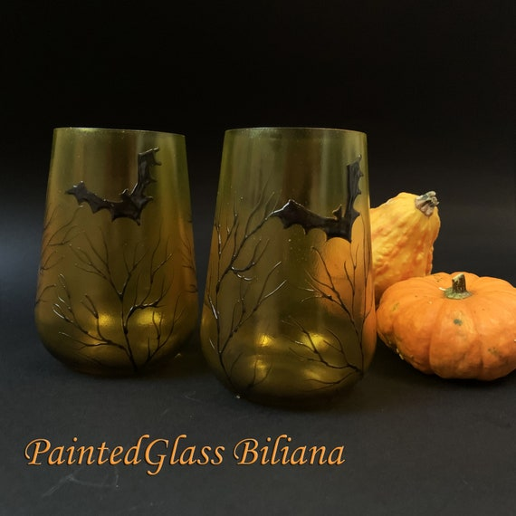 Bats yellow, orange and black stemless wine glasses, Halloween wedding theme