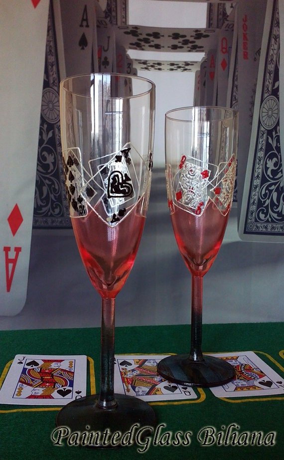 Casino Wedding Glasses Champagne Flutes Set of 2 Pocker Royal Flush in red and black color