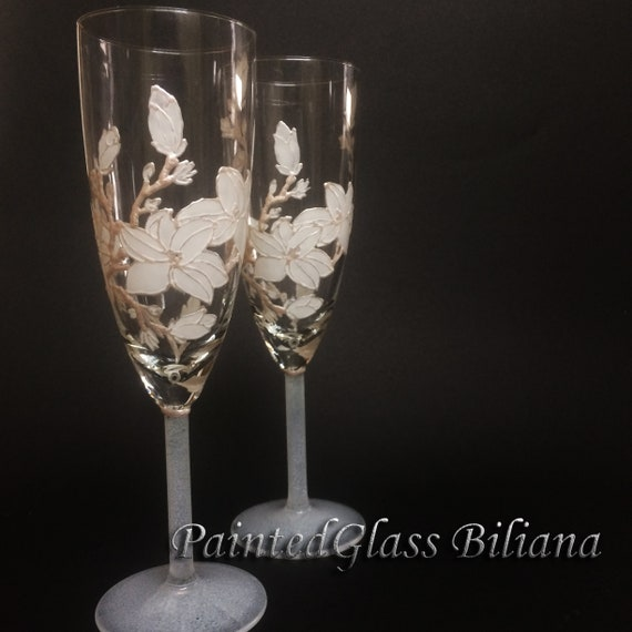 Set of 2 hand painted white magnolia wedding champagne flutes