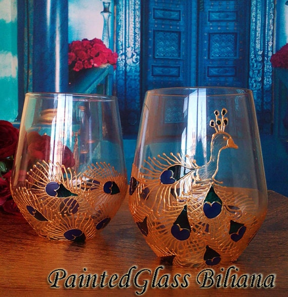 Set of 2 Hand Painted stemless wine glasses Peacock in turquoise, blue and gold color