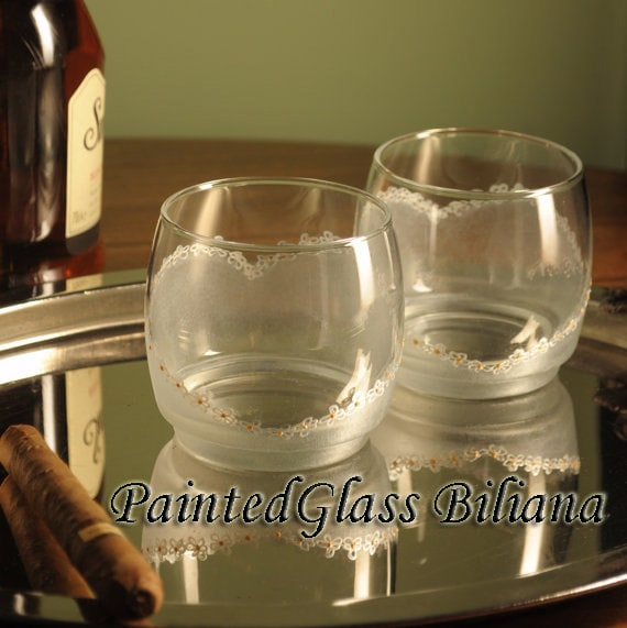 Set of 2 hand painted whiskey glasses Heart