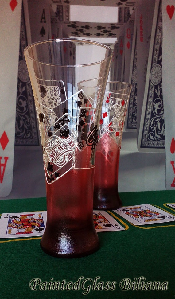 Casino Beer Pilsner Glasses  Set of 2 Pocker Royal Flush in red and black color