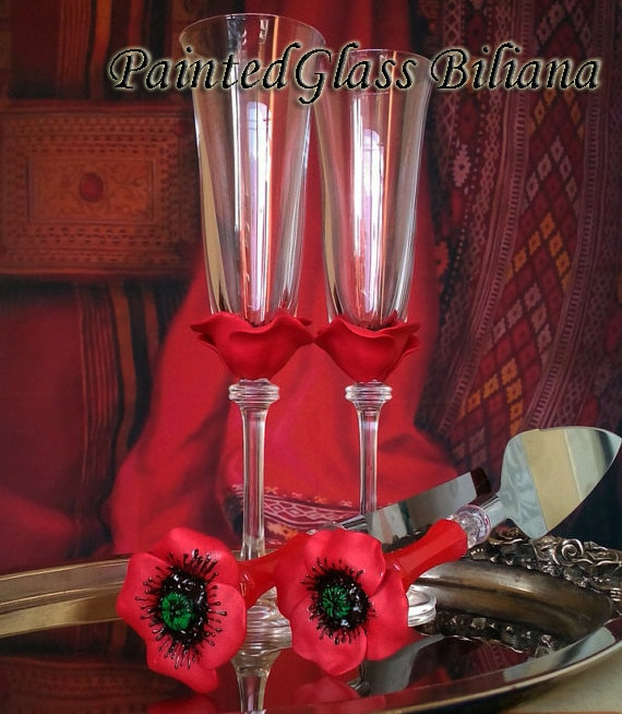 SET of 2 hand decorated Wedding Glasses champagne flutes Red Poppy