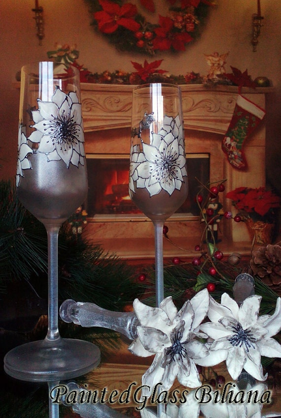 Christmas CRYSTAL SET of 2 wedding champagne flutes White Poinsettia flower Winter glasses in white and silver Cake serving set