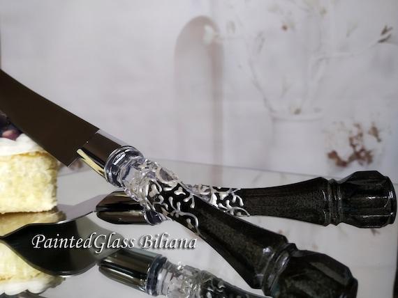 Black white Gatsby style cake server and knife