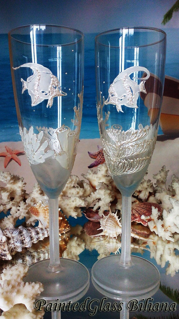 Coral reef Wedding Glasses Champagne Flutes Set of 2 Beach Sea wedding theme