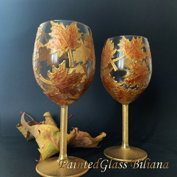 Autumn set of 2 Maple Leaves toasting glasses in gold color