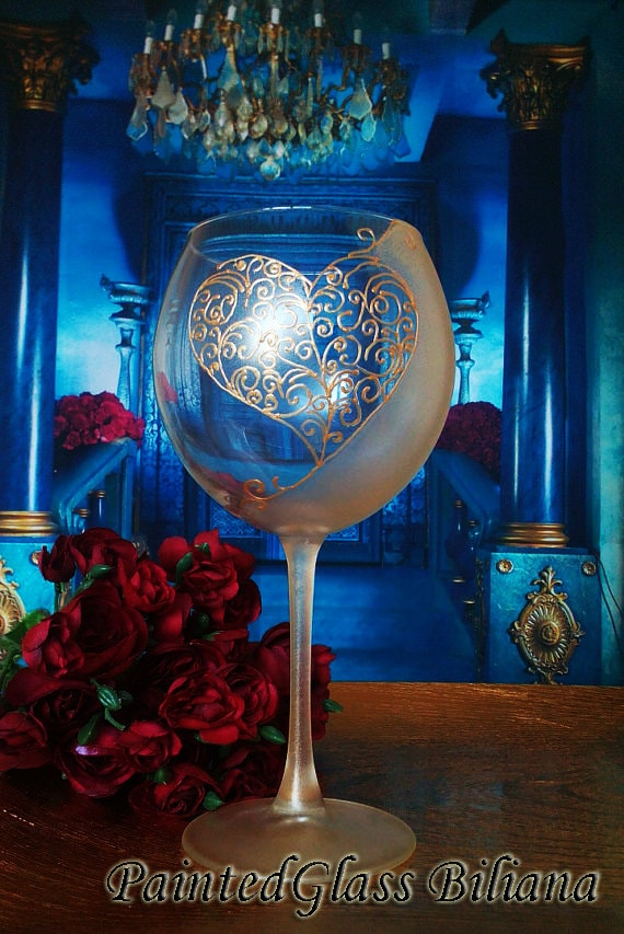 Hand Painted wine glass Love in gold