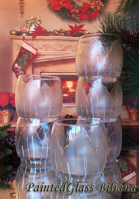 Free Shipping Sale -10% Set of 6 hand painted whiskey glasses Golden Tulip