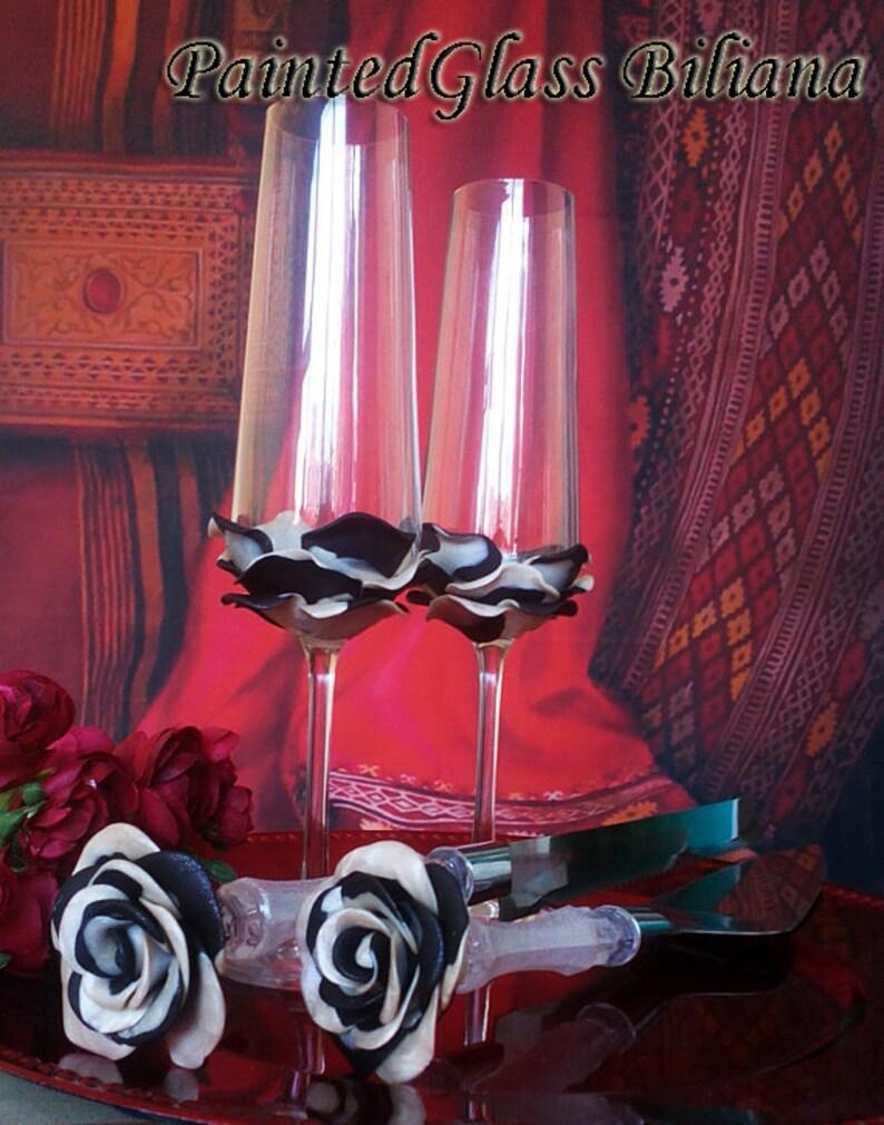 Set of 2 hand decorated Wedding Glasses champagne flutes Black image 0