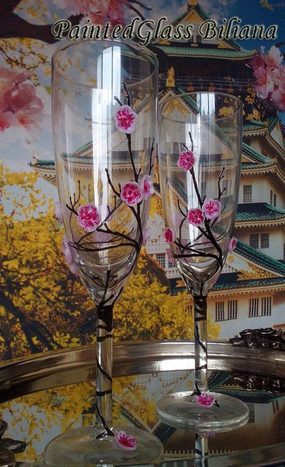Sakura Wedding Toasting Glasses Cherry blossom wedding theme Champagne Flutes Hand Painted Set of 2