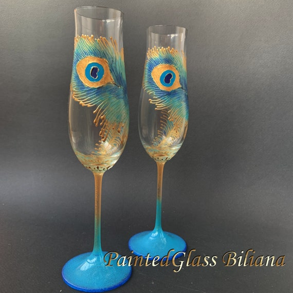 Elegant Wedding Glasses Peacock feather Champagne Flutes Hand Painted Set of 2 Peacock theme wedding