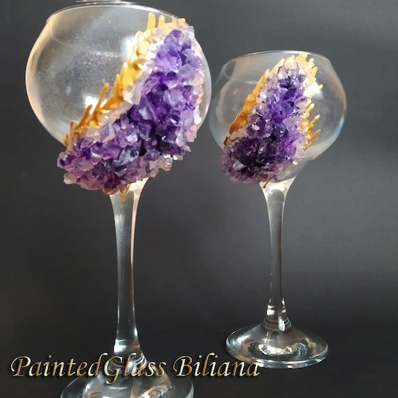 Free shipping purple geode wine glasses