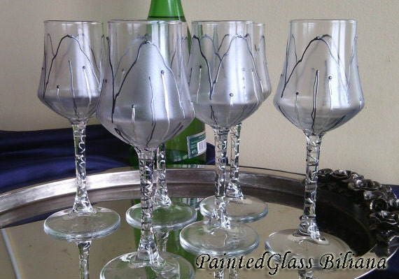 Free shipping 10% off Set of 6 hand painted aperitif grappa  glasses Silver Tulip