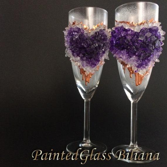 Free shipping Amethyst heart geode wedding flutes