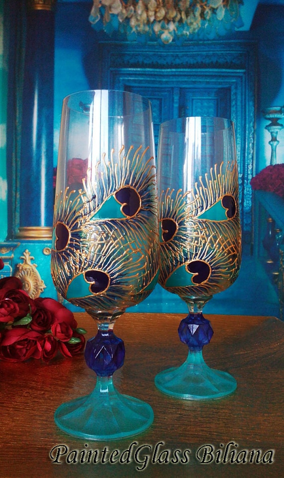 Crystal Set of 2 Hand Painted Wedding Pilsner beer glasses Peacock feathers in gold, blue and turquoise color