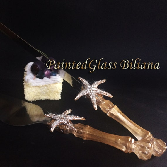 Starfish cake serving set, beach sea wedding theme, gold color