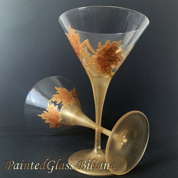 Set of 2 Autumn Maple leaves hand painted martini glasses in gold and copper color