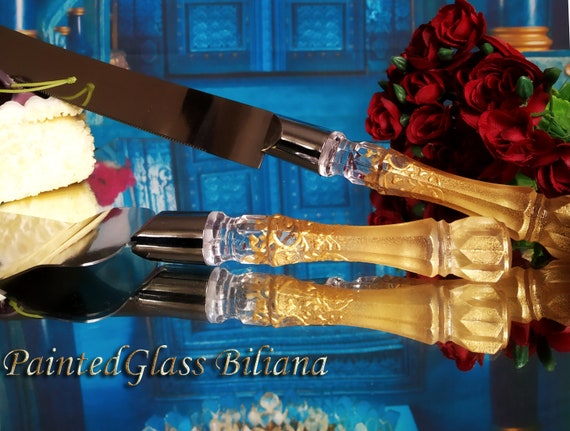 Gold Gatsby style cake server and knife