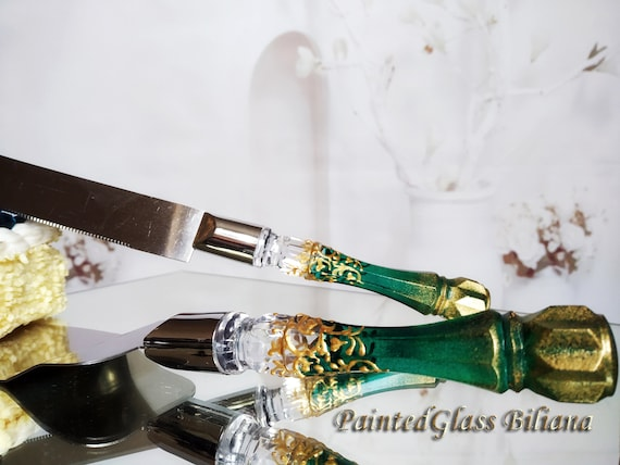 Emerald green gold Gatsby style cake server and knife