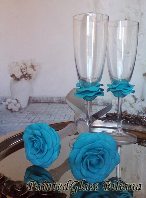 Something blue Wedding Glasses Champagne Flutes Set of 2 Rose in turquoise color Cake serving set