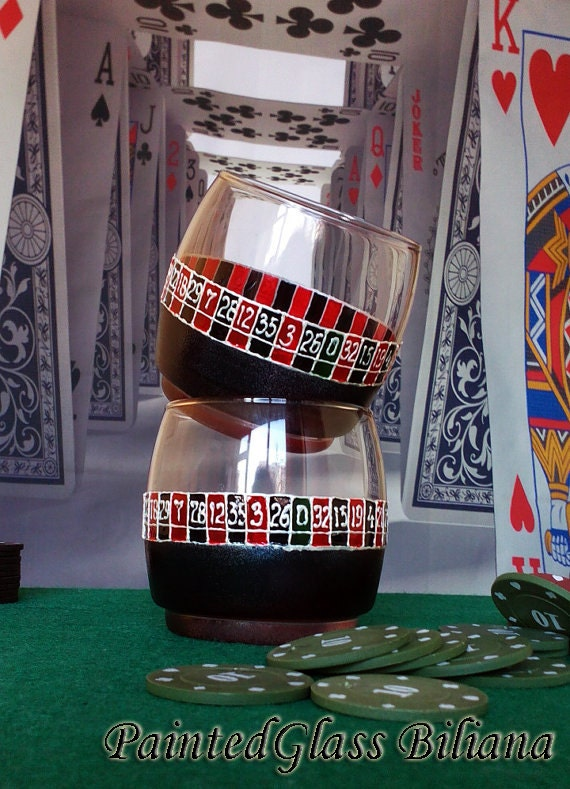 Set of 2 Hand Painted whiskey glasses Las Vegas Casino Roulette Poker in red and black color