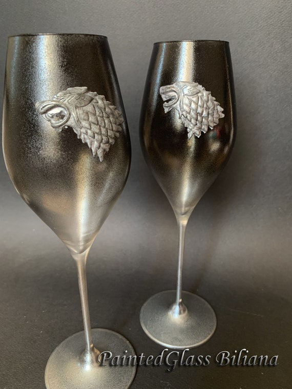Game of thrones Set of 2 hand handmade handpainted wedding toasting flutes House Stark