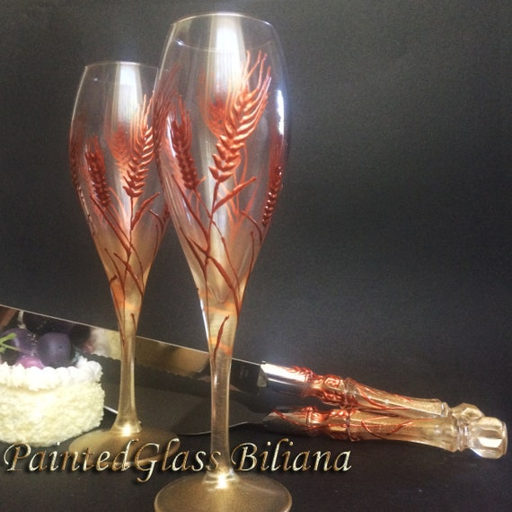 Set of hand painted champagne flutes and a cake serving set Autumn wedding theme Wheat Rye flutes wedding barn theme