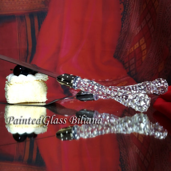 Valentine's day in pearly white Cake serving set server and knife