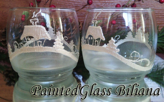 SALE -25% Set of 6 winter Christmas hand painted whiskey glasses Cold Winter