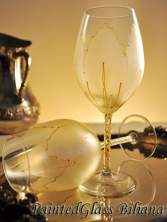 Free shipping 20% Off SET OF 6 Hand Painted unique wine glasses Golden tulip SALE