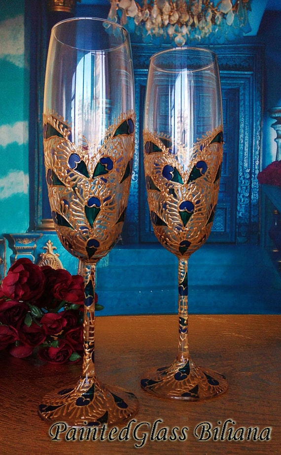 SET of 2 hand painted wedding champagne flutes Lace peacock feather heart in gold, turquoise and blue color
