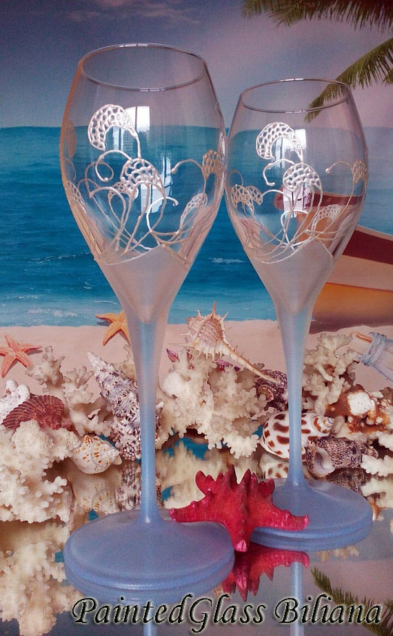 Toasting wine glasses Set of 2 Beach Sea waves in pearly white and blue color