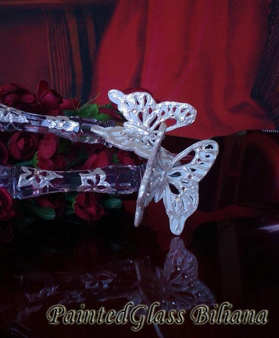 Wedding cake server and knife, butterfly wedding cake accessories, White butterflies wedding,  swarovski crystal set, cake server set, 2 pcs