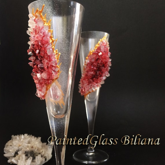 Free shipping burgundy red geode wedding flutes