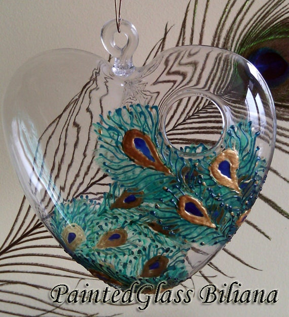 Hand painted hanging heart  vase Peacock feathers