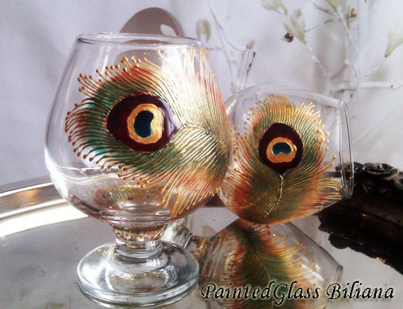 Set of 2 Hand Painted brandy cognac glasses Peacock feather in gold, brown and turquoise color