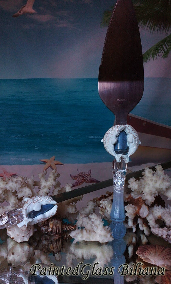 Wedding cake server and knife, Summer Beach Sea wedding cake accessories, Dolphin wedding,  wedding supplies, beach sea serving set, 2 pcs