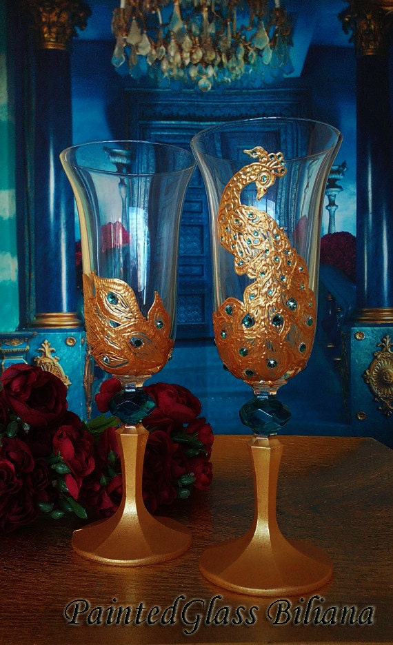 Set of 2 hand painted wedding champagne flutes Gold Peacock lace theme wedding glasses Swarovski crystals