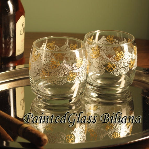 Set of 2 hand painted whiskey glasses Lace
