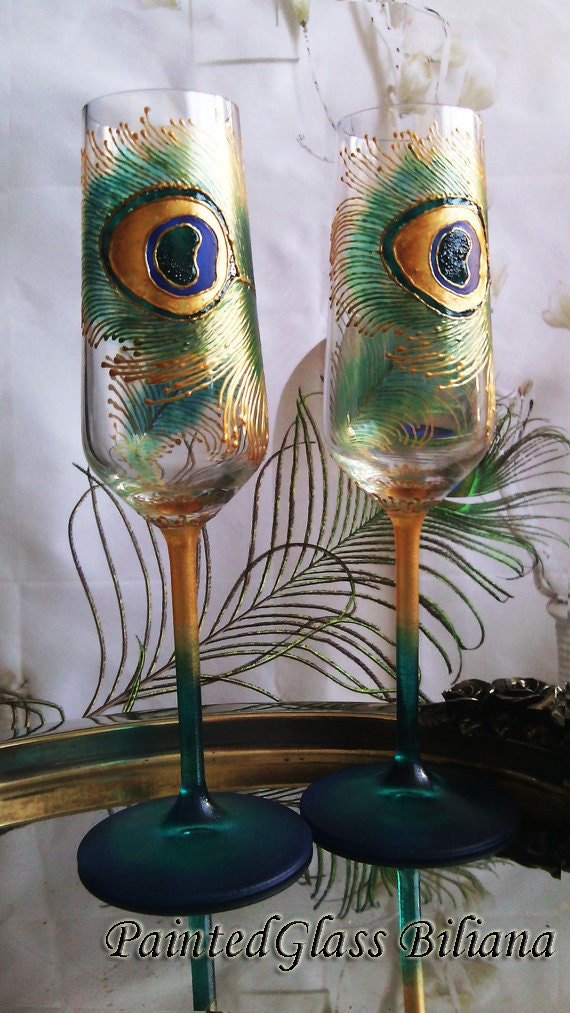 CRYSTAL SET of 2  peacock feather wedding champagne flutes in gold and peacock blue color, wedding glasses peacock theme